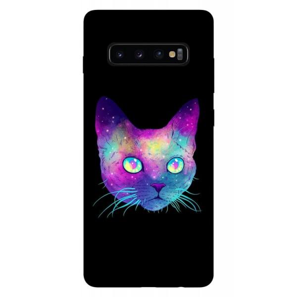 Husa Silicon Soft Upzz Print Samsung Galaxy S10 Plus Model Neon Cat imagine itelmobile.ro 2021