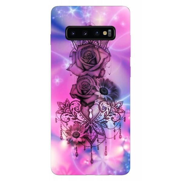 Husa Silicon Soft Upzz Print Samsung Galaxy S10 Plus Model Neon Rose imagine itelmobile.ro 2021