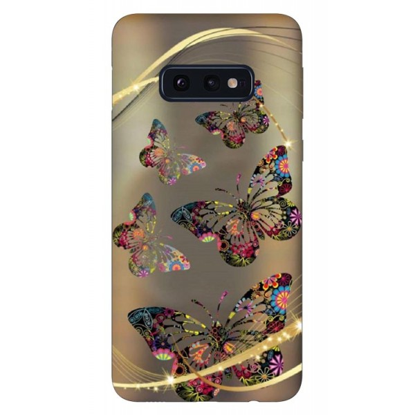 Husa Silicon Soft Upzz Print Samsung Galaxy S10e Model Golden Butterflys imagine itelmobile.ro 2021