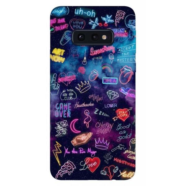 Husa Silicon Soft Upzz Print Samsung Galaxy S10e Model Neon imagine itelmobile.ro 2021
