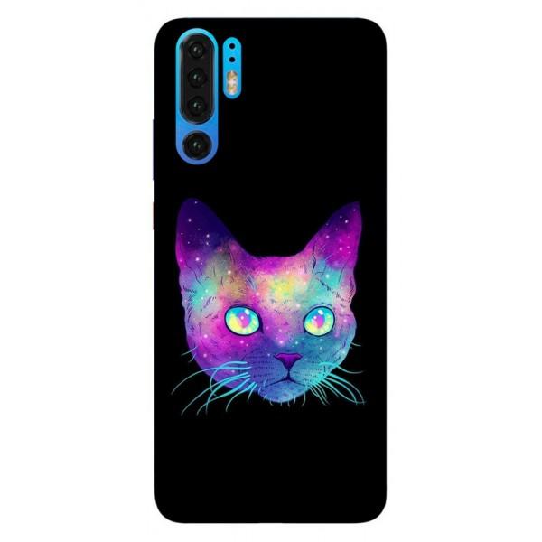 Husa Silicon Soft Upzz Print Huawei P30 Pro Model Neon Cat imagine itelmobile.ro 2021