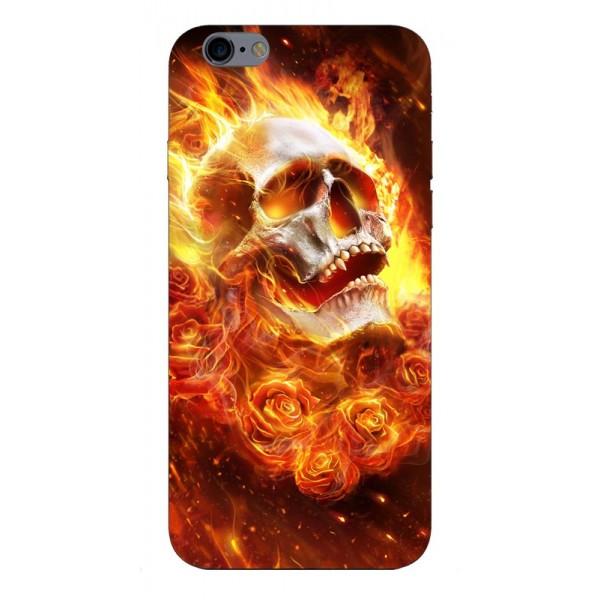 Husa Silicon Soft Upzz Print iPhone 6 / 6s Model Flame Skull imagine itelmobile.ro 2021