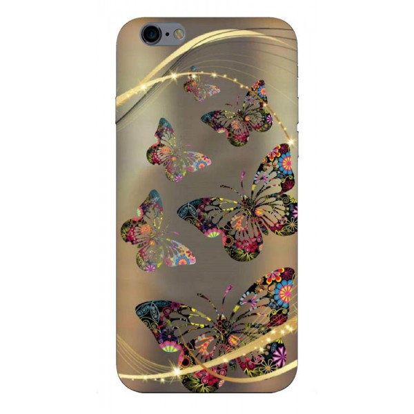 Husa Silicon Soft Upzz Print iPhone 6 / 6s Model Golden Butterfly imagine itelmobile.ro 2021