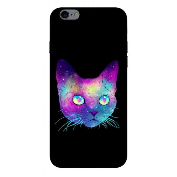 Husa Silicon Soft Upzz Print iPhone 6 / 6s Model Neon Cat imagine itelmobile.ro 2021