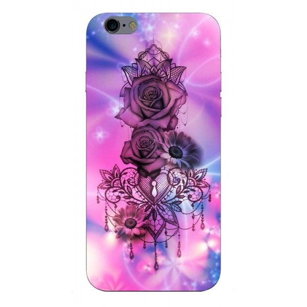 Husa Silicon Soft Upzz Print iPhone 6 / 6s Model Neon Rose imagine itelmobile.ro 2021