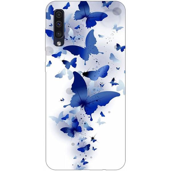 Husa Silicon Soft Upzz Print Samsung Galaxy A50 Model Blue Butterflies imagine itelmobile.ro 2021
