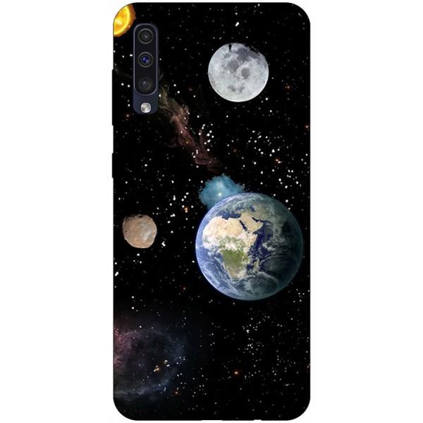 Husa Silicon Soft Upzz Print Samsung Galaxy A50 Model Earth imagine itelmobile.ro 2021