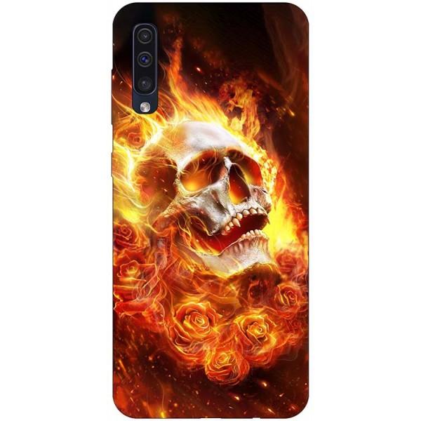 Husa Silicon Soft Upzz Print Samsung Galaxy A50 Model Flame Skull imagine itelmobile.ro 2021