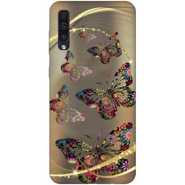 Husa Silicon Soft Upzz Print Samsung Galaxy A50 Model Golden Butterflies imagine itelmobile.ro 2021