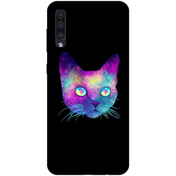 Husa Silicon Soft Upzz Print Samsung Galaxy A50 Model Neon Cat imagine itelmobile.ro 2021