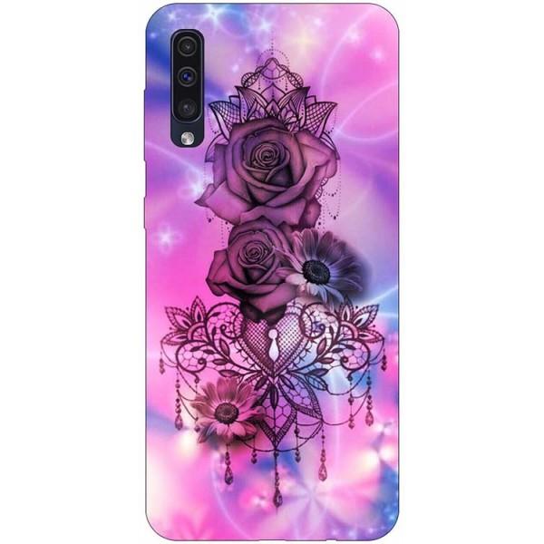 Husa Silicon Soft Upzz Print Samsung Galaxy A50 Model Neon Rose imagine itelmobile.ro 2021