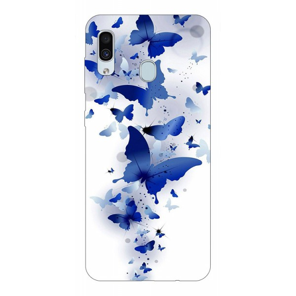 Husa Silicon Soft Upzz Print Samsung Galaxy A30 Model Blue Butterflies imagine itelmobile.ro 2021