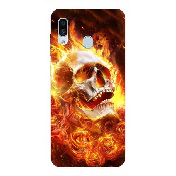 Husa Silicon Soft Upzz Print Samsung Galaxy A30 Model Flame Skull imagine itelmobile.ro 2021