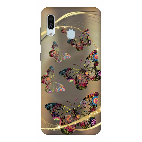 Husa Silicon Soft Upzz Print Samsung Galaxy A30 Model Golden Butterflies imagine itelmobile.ro 2021