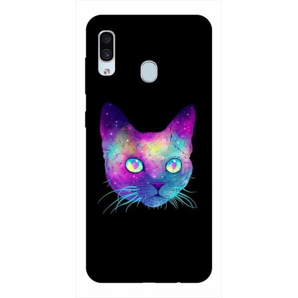 Husa Silicon Soft Upzz Print Samsung Galaxy A30 Model Neon Cat imagine itelmobile.ro 2021
