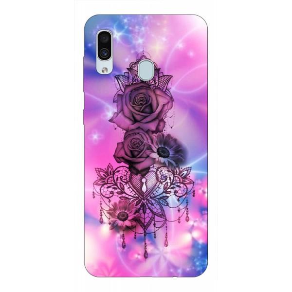 Husa Silicon Soft Upzz Print Samsung Galaxy A30 Model Neon Rose imagine itelmobile.ro 2021