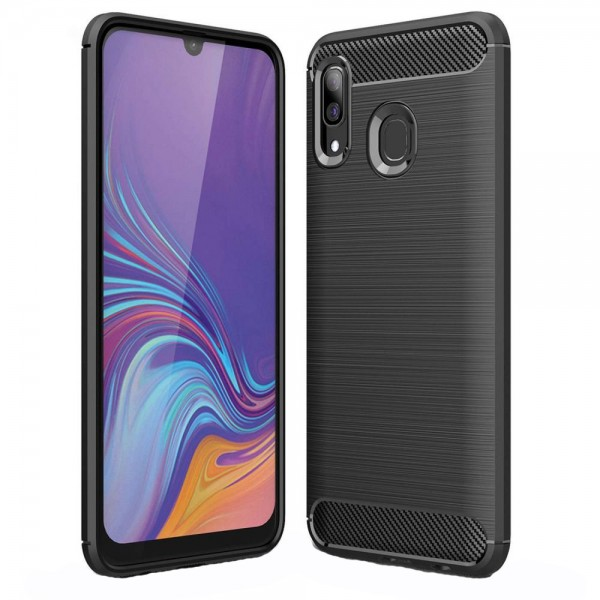 Husa Spate Forcell Carbon Pro Samsung Galaxy A40 Negru Silicon imagine itelmobile.ro 2021