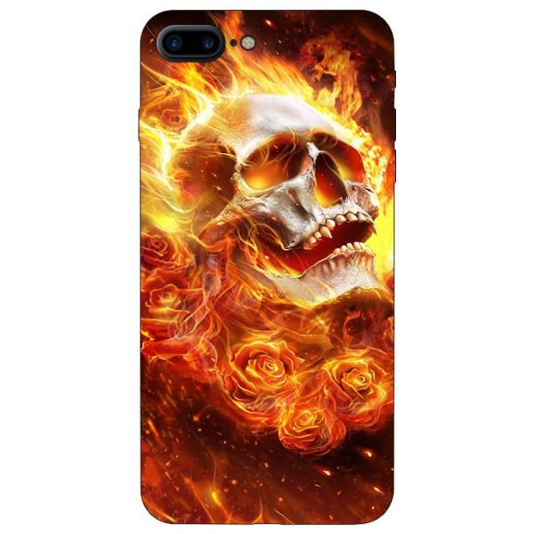 Husa Silicon Soft Upzz Print iPhone 7/8 Plus Model Flame Skull imagine itelmobile.ro 2021