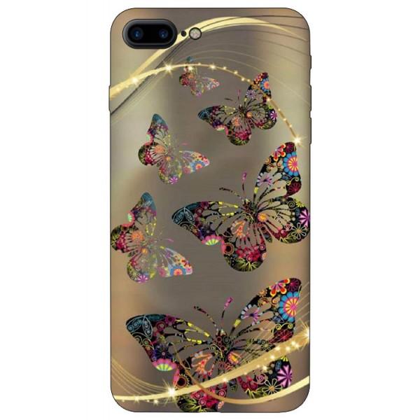 Husa Silicon Soft Upzz Print iPhone 7/8 Plus Model Golden Butterfly imagine itelmobile.ro 2021