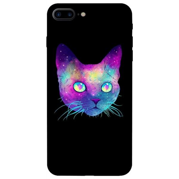 Husa Silicon Soft Upzz Print iPhone 7/8 Plus Model Neon Cat imagine itelmobile.ro 2021