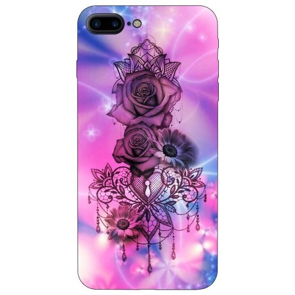 Husa Silicon Soft Upzz Print iPhone 7/8 Plus Model Neon Rose imagine itelmobile.ro 2021
