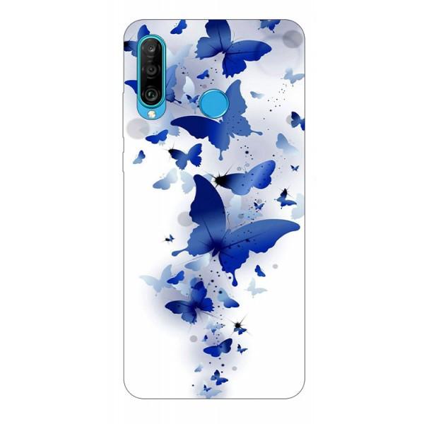 Husa Silicon Soft Upzz Print Huawei P30 Lite Model Blue Butterflies imagine itelmobile.ro 2021
