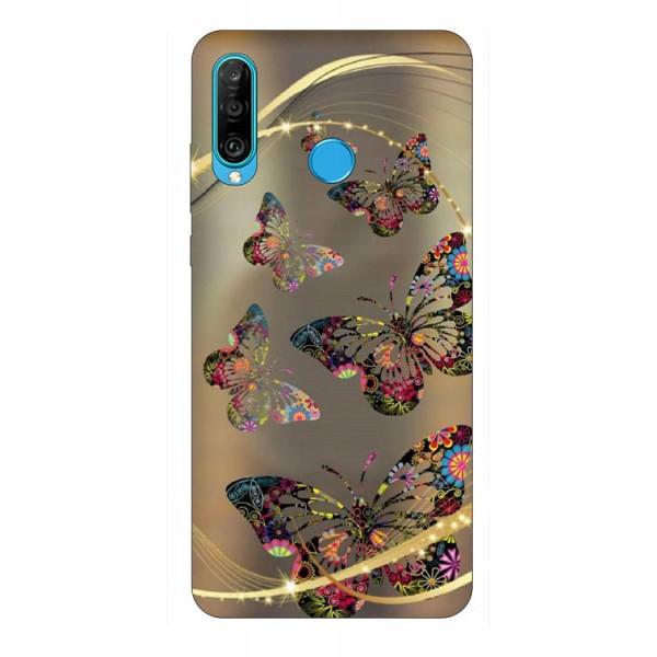 Husa Silicon Soft Upzz Print Huawei P30 Lite Model Golden Butterfly imagine itelmobile.ro 2021