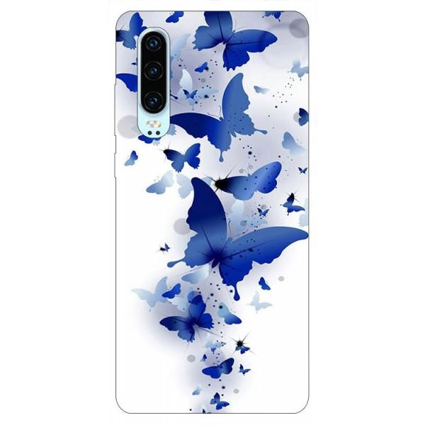 Husa Silicon Soft Upzz Print Huawei P30 Model Blue Butterflies imagine itelmobile.ro 2021