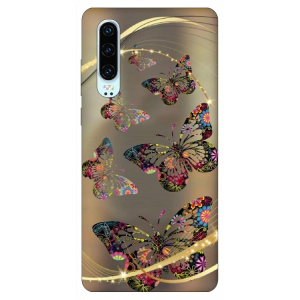 Husa Silicon Soft Upzz Print Huawei P30 Model Golden Butterfly imagine itelmobile.ro 2021
