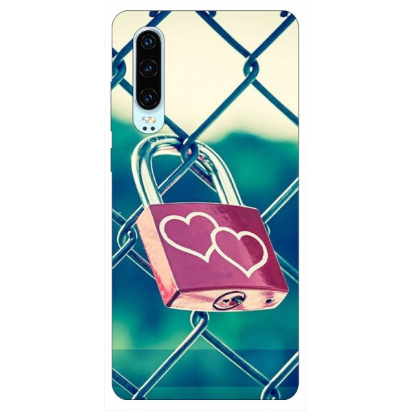 Husa Silicon Soft Upzz Print Huawei P30 Model Heart Lock imagine itelmobile.ro 2021