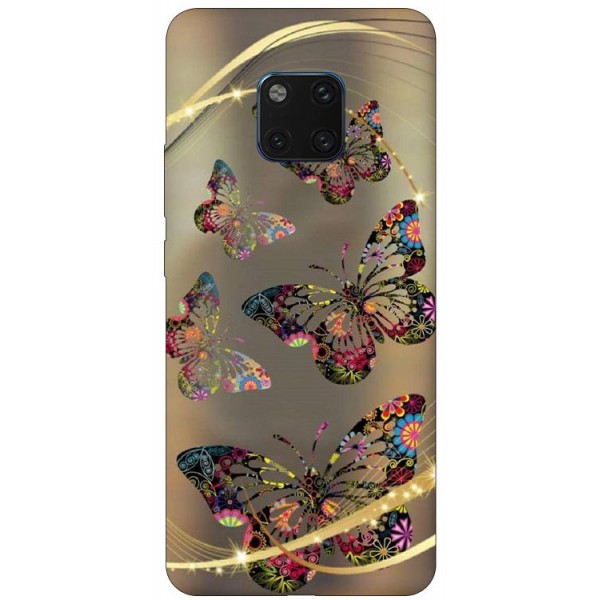 Husa Silicon Soft Upzz Print Huawei Mate 20 Pro Model Golden Butterfly imagine itelmobile.ro 2021