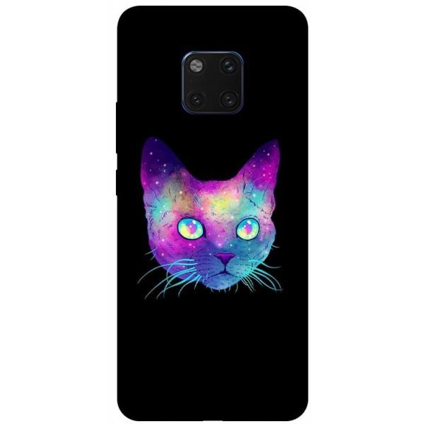 Husa Silicon Soft Upzz Print Huawei Mate 20 Pro Model Neon Cat imagine itelmobile.ro 2021