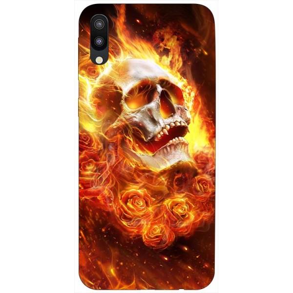 Husa Silicon Soft Upzz Print Samsung Galaxy M10 Model Flame Skull imagine itelmobile.ro 2021