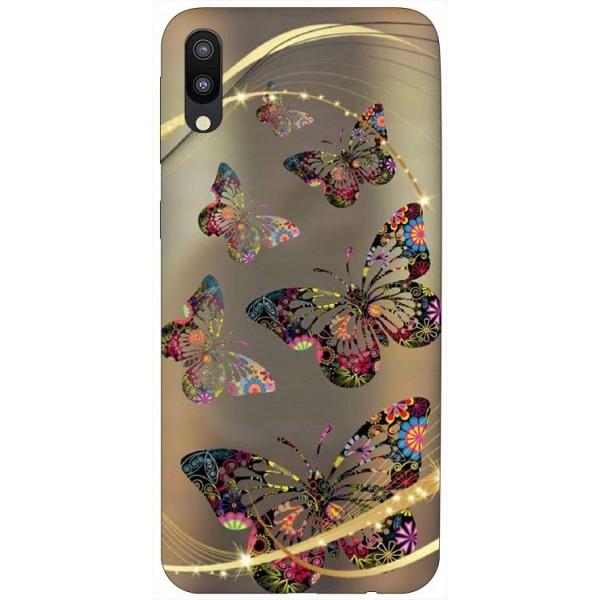 Husa Silicon Soft Upzz Print Samsung Galaxy M10 Model Golden Butterfly imagine itelmobile.ro 2021