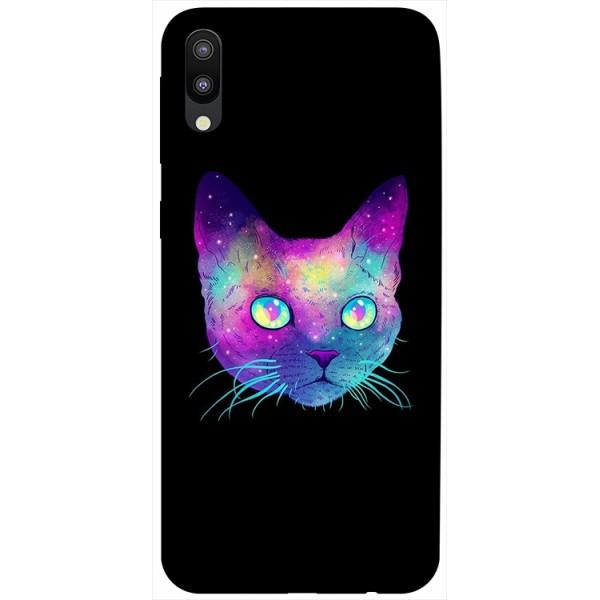Husa Silicon Soft Upzz Print Samsung Galaxy M10 Model Neon Cat imagine itelmobile.ro 2021