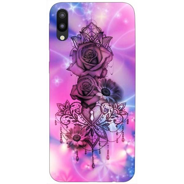 Husa Silicon Soft Upzz Print Samsung Galaxy M10 Model Neon Rose imagine itelmobile.ro 2021