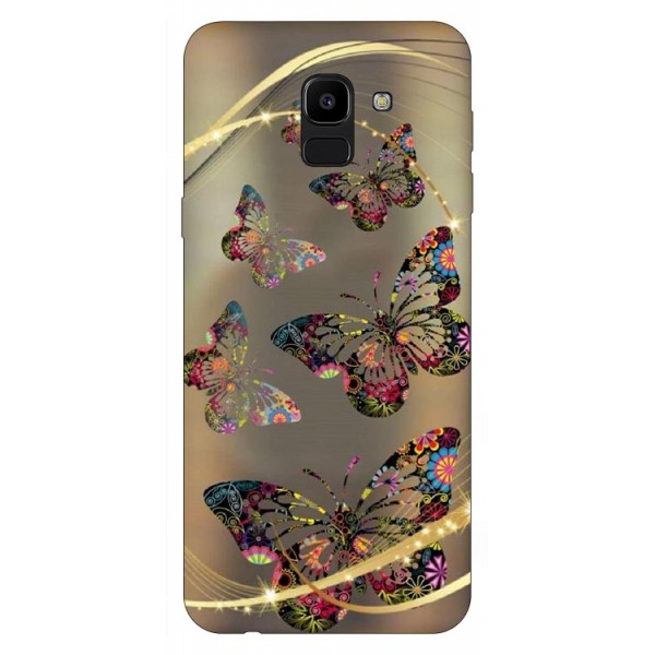 Husa Silicon Soft Upzz Print Samsung J6 2018 Model Golden Butterfly imagine itelmobile.ro 2021