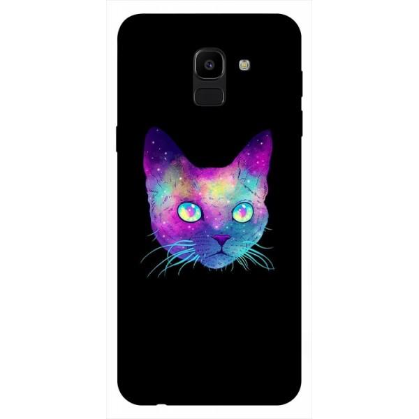 Husa Silicon Soft Upzz Print Samsung J6 2018 Model Neon Cat imagine itelmobile.ro 2021