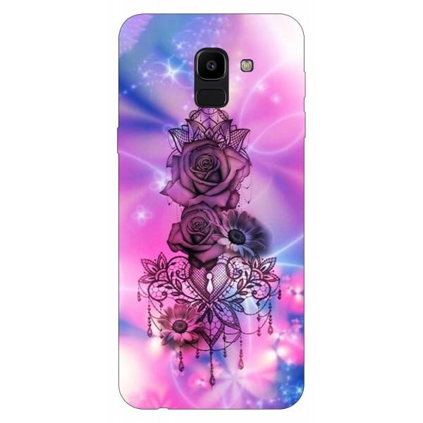 Husa Silicon Soft Upzz Print Samsung J6 2018 Model Neon Rose imagine itelmobile.ro 2021