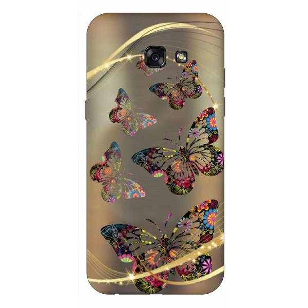 Husa Silicon Soft Upzz Print Samsung A5 2017 Model Golden Butterfly imagine itelmobile.ro 2021