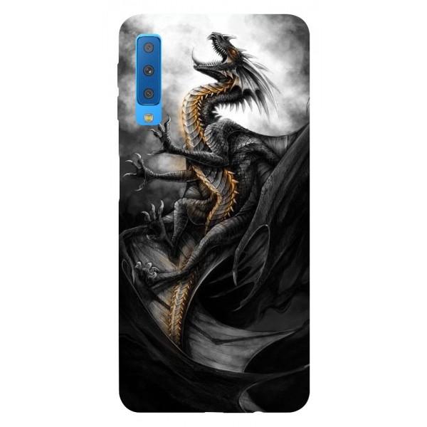 Husa Silicon Soft Upzz Print Samsung Galaxy A7 2018 Model Dragon 1 imagine itelmobile.ro 2021
