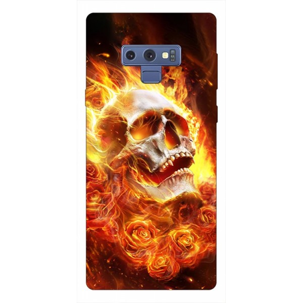 Husa Silicon Soft Upzz Print Samsung Galaxy Note 9 Model Flame Skull imagine itelmobile.ro 2021