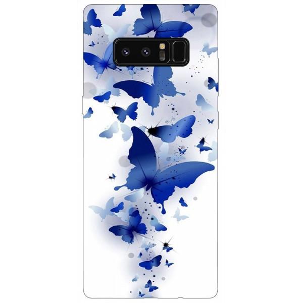 Husa Silicon Soft Upzz Print Samsung Galaxy Note 8 Model Blue Butterflies imagine itelmobile.ro 2021