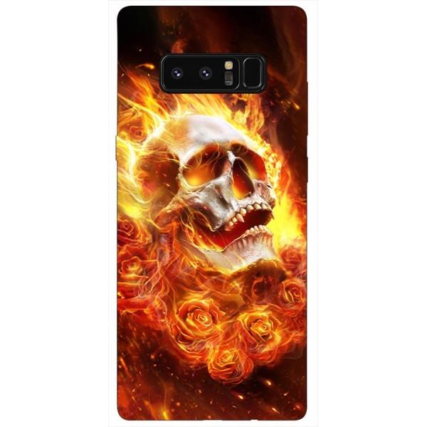 Husa Silicon Soft Upzz Print Samsung Galaxy Note 8 Model Flame Skull imagine itelmobile.ro 2021