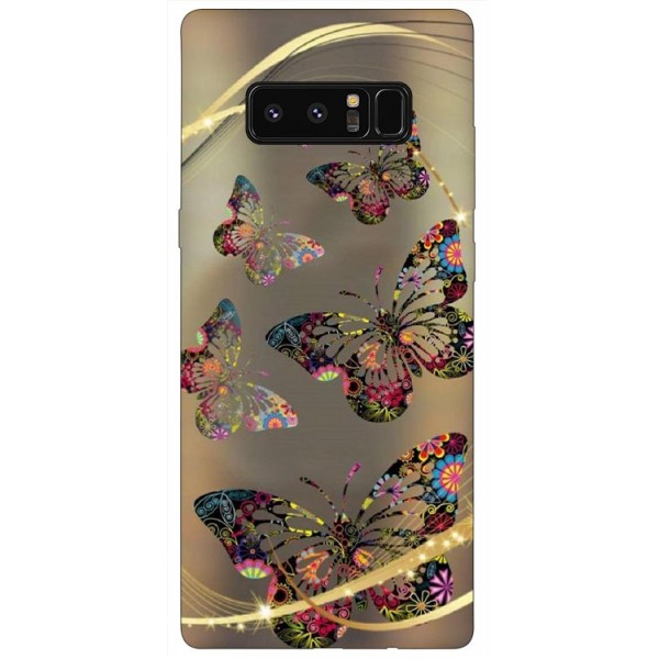 Husa Silicon Soft Upzz Print Samsung Galaxy Note 8 Model Golden Butterfly imagine itelmobile.ro 2021
