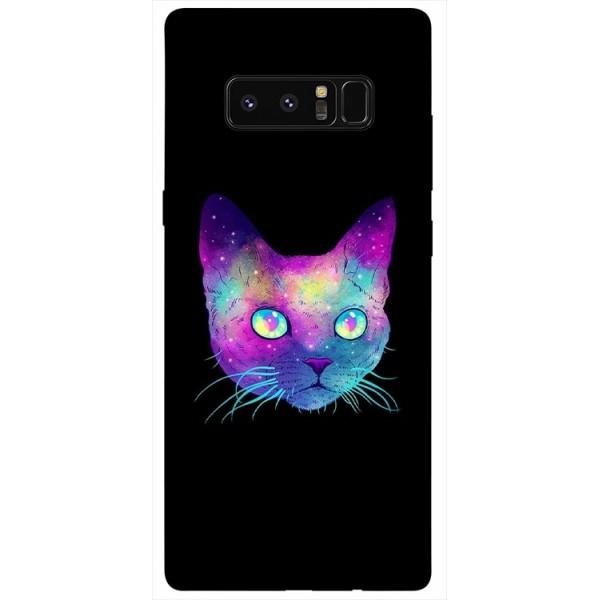 Husa Silicon Soft Upzz Print Samsung Galaxy Note 8 Model Neon Cat imagine itelmobile.ro 2021