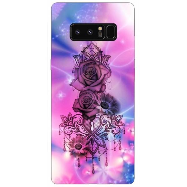 Husa Silicon Soft Upzz Print Samsung Galaxy Note 8 Model Neon Rose imagine itelmobile.ro 2021