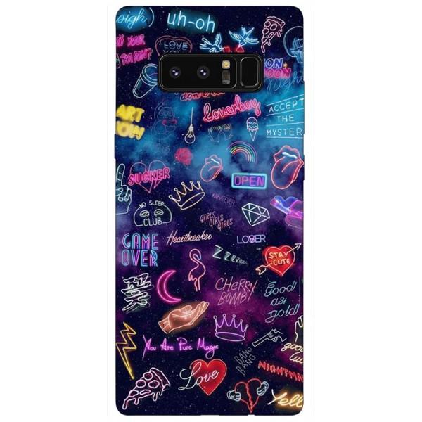 Husa Silicon Soft Upzz Print Samsung Galaxy Note 8 Model Neon imagine itelmobile.ro 2021