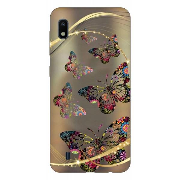 Husa Silicon Soft Upzz Print Samsung Galaxy A10 Model Golden Butterfly imagine itelmobile.ro 2021