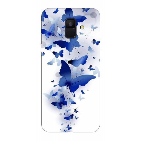 Husa Silicon Soft Upzz Print Samsung A6 2018 Model Blue Butterflies imagine itelmobile.ro 2021